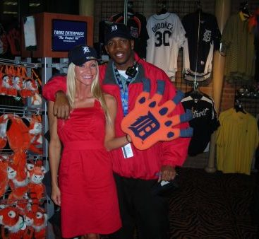 Go Tigers - Carey Torrice hangs out at the Tigers game with one of the employees! The worker sets Carey up with the newest Tiger gear!