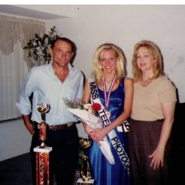 Carey's Parent's - Carey stands with her Mother and Father after winning a beauty contest