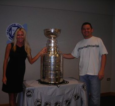 Stanley Cup - Carey and Mike Torrice pose with the Stanley Cup 2008
