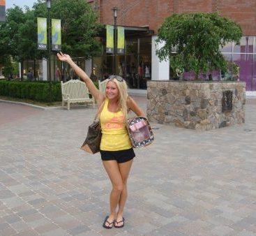 "Shopping at the Creek - Carey Torrice and her cat ""Bardot"""
