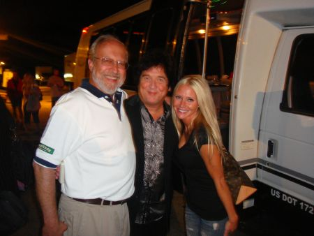 Carey with The Romantics - Carey Torrice poses backstage at the Selfridge ANG Base concert with The Romantics singer Wally Palmar (Center) and Macomb County Commissioner Andrey Duzyj (Left).