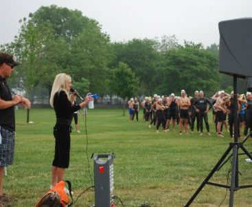 Carey Starts the Race at the Beach - The Triathalon benefitted the Ronald McDonald House and was held at Metro Beach.